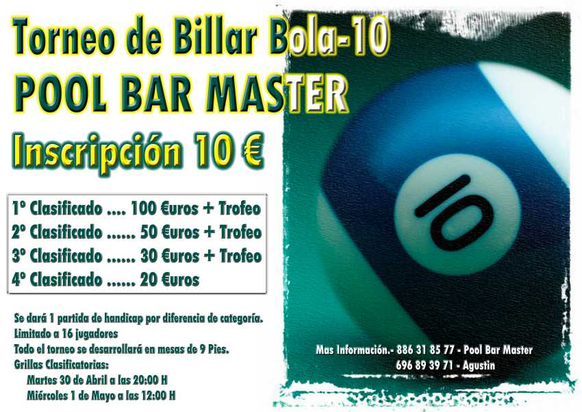 TORNEO POOL BAR MASTER DE BOLA 10