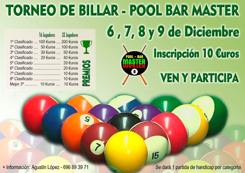 Torneo de Billar Pool Bar Master